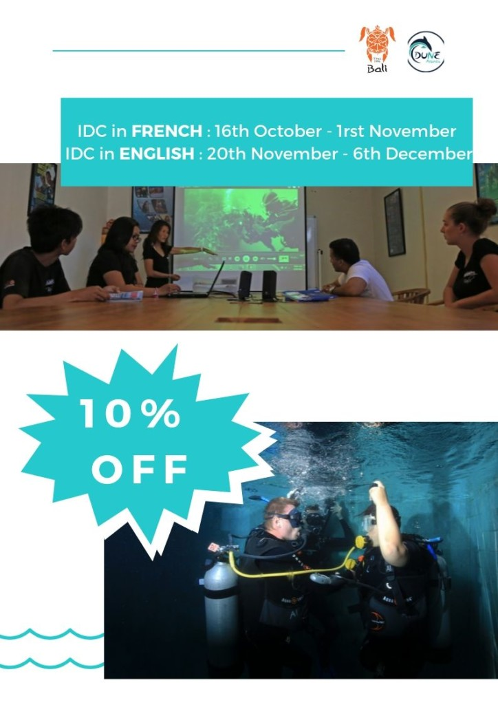 Newsletter September - 10% off IDC course in English and French | Atlantis Bali Diving