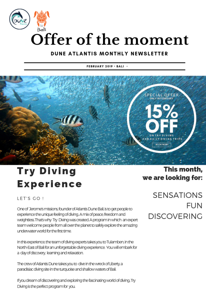 Offer of the moment - try diving experience with Atlantis Bali Diving