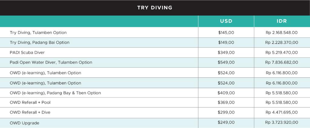 Try Diving Pricing   Atlantis Bali Diving
