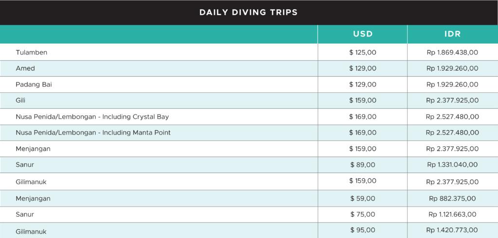 Diving Trip Pricing   Atlantis Bali Diving